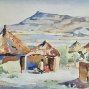 Sold | Battiss, Walter | Figures at huts
