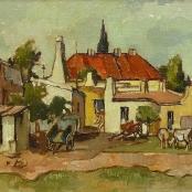 Sold   Boonzaier, Gregoire   Red roof buildings & Carts