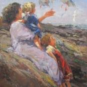 Sold |Boshoff, Adriaan | Lady and children feeding birds