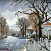 Sold | Botha, David | 2 Figures walking in the rain
