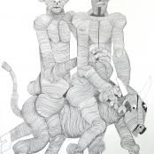 Sold |Mokgosi, Nathaniel | Man & Woman riding bull