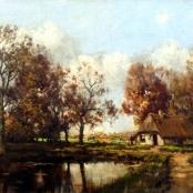 Sold   de Jongh, Tinus   Figure next to farmhouse