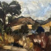 Sold | Du Toit, Paul | Landscape with trees, Oil on canvas, Size 390 x 550mm