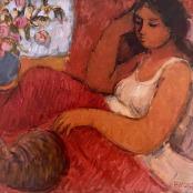 Esmond-White, Eleanor | Seated girl with cat