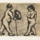 Sold | Kentridge, William | Adam and Eve, Numbered APVI in pencil in the margin