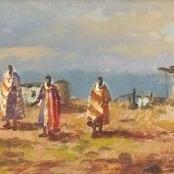Sold  Klar, Otto   Landscape with 7 figures
