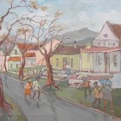 Sold  Louw, Kobus   Street scene with rain