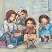 Langdown, Amos | Children eating watermelon