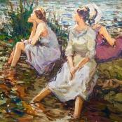 Sold | Boshoff,  Adriaan | Ladies at the pond, signed