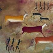 Lekgetho, Simon | Bushmen on the hunt, signed and dated 1964