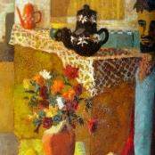 Sold   Wallace, Marjorie   Jan Rabie standing by flowers