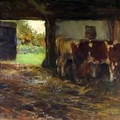 Sold | Oerder, Frans | Cattle in farm stall