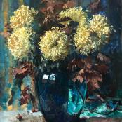 Sold | Oerder, Frans | Green vase with Aster Callistephus