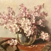 Sold | Oerder, Frans |  Pink blossoms in a vase
