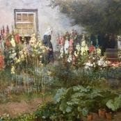 Sold | Oerder, Frans | Cottage garden with hollyhocks