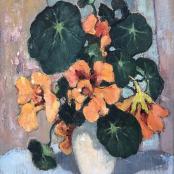 Sold |  Theys Conrad | Orange Nasturtiums in white vase