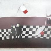 Sold | Van der Westhuizen, Pieter | Figures in abstract Landscape